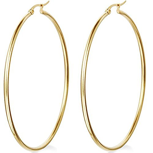 Mocalady Jewelers Womens Hoop Earrings Stainless Steel Kids Jewelry Ear Loop 60 (Gold Designer Earrings)