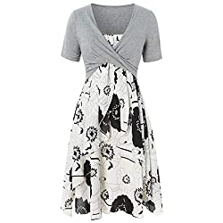 Uoknice Dresses For Women Party Wedding Plus Size Women Fashion Short Sleeve Bow Knot Bandage Top Floral Print Mini Dress Suits