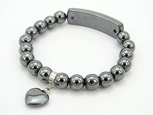 jennysun2010 8mm Natural Hematite Black Gemstone Heart Bar Round Beads Stretchy Bracelet Healing Reiki Chakra 7