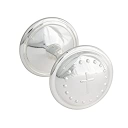 Mud Pie Baby Classic Keepsakes Silver-Plate Rattle, Cross
