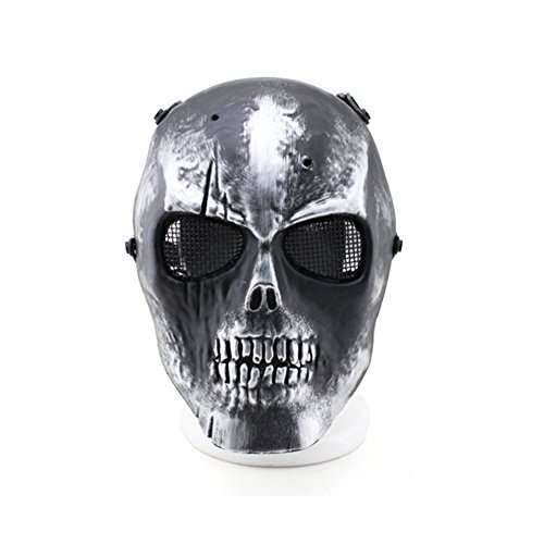 HUANGYUAN Skull Airsoft Masks Full Face - Tactical Mask Metal Mesh Eye Protection for BB Gun/CS Game/Paintball/Hunting - Outdoor Ghost Mask Army Men&Women Zombie Scary Skeleton Masks for -