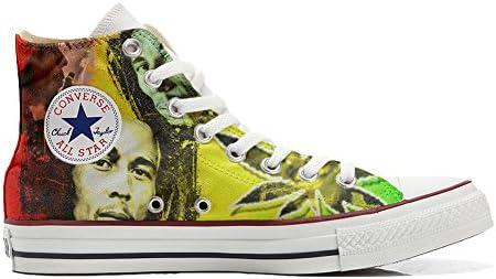 Unbekannt Sneakers Unisex American USA - Base Print Vintage 1200dpi - Cutomized - personalisierte Schuhe (Handwerk Produkt) mit Bob Marley