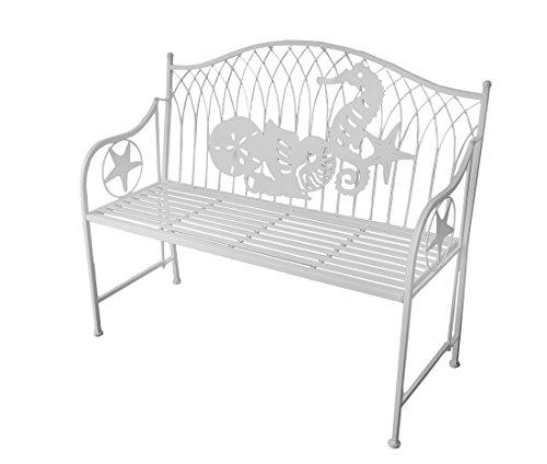 Coastal Shores White Beach Theme Metal Garden Bench