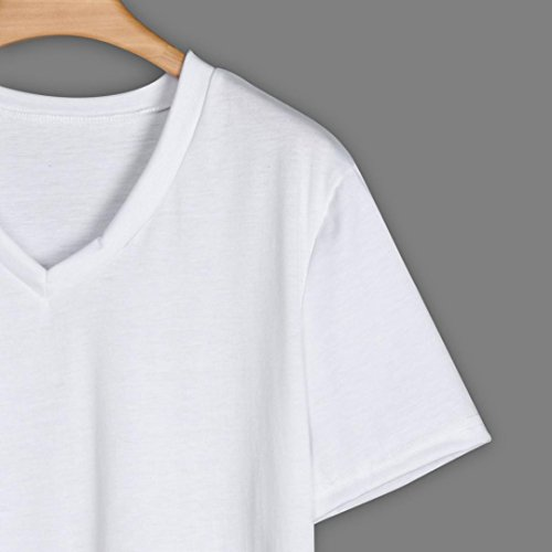 T Shirt Irrgulire Blanc Ample Top Col Solide Uni Angelof Ourlet Ete Femmes V Polyester Oversize Courtes Blouse Manches R4dHSq