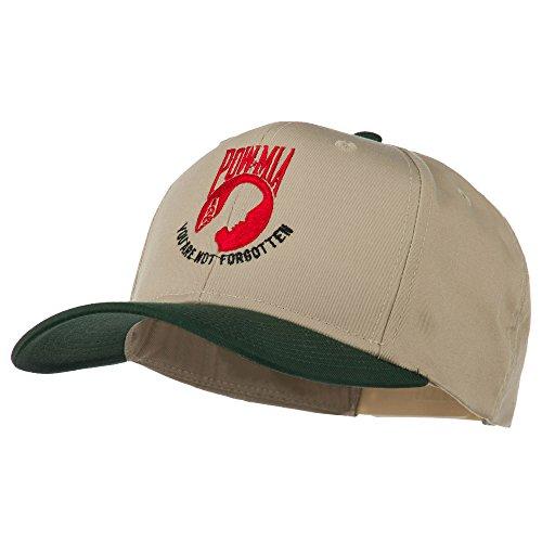 E4hats Pow Mia Logo Embroidered Two Tone Cap - Green Khaki OSFM -