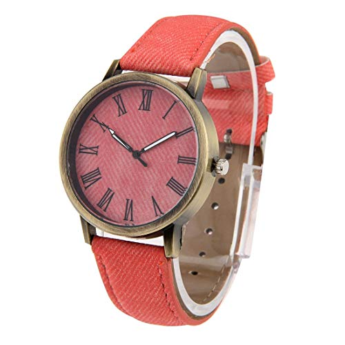 (VAXT Steer Denim Texture Style Stave Dial Retro Digital Display Women & Men Quartz Watch with PU Leather Band (Color : Pink))