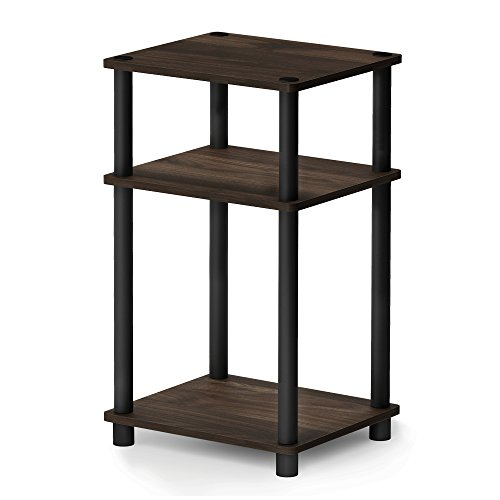 FURINNO 11087CWN/BK JUST Turn-N-Tube 3-Tier End Table, 1-Pack, Columbia Walnut/Black