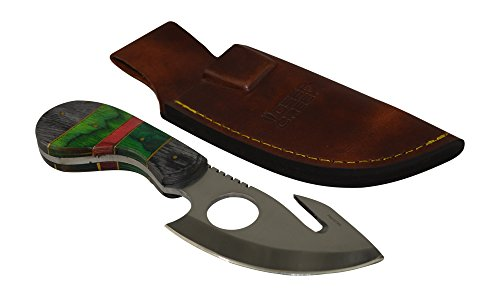 Exclusive Deer Creek 7 Inch Hunting Knife Skinner Skinning Full Tang Fixed Blade Survival Knives with Gut Hook (Green) (Deer Hunter Knife)