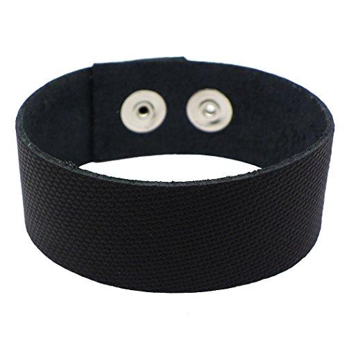 Rosemarie Collections Men's Handmade Genuine Leather Adjustable Wrap Bracelet (Black) (Mens Bracelet Abercrombie)