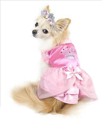 Satin Princess w/ Crown Costume For Dogs (4 (12.5'' l x 16'' - 18.5'' g)) by Puppe Love