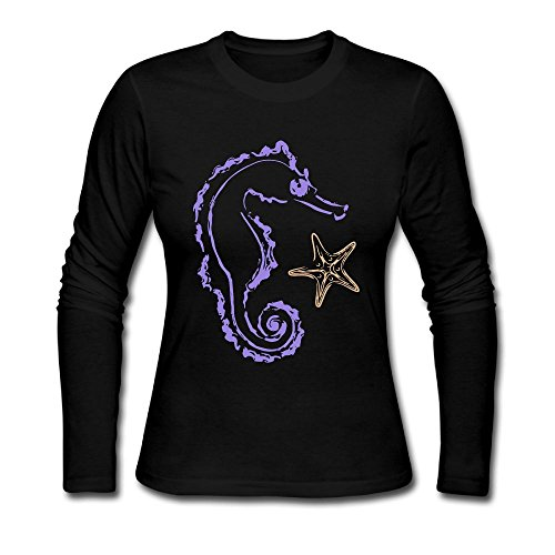 Seahorse Womens Long Sleeve (Women's Long Sleeve Shirts, Seahorse Bottoming Shirt Outer Clothing)