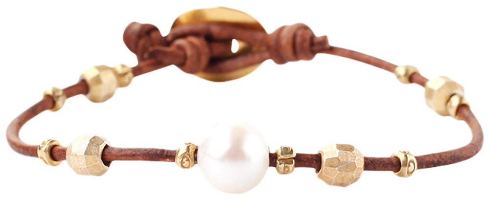 Chan Luu White Freshwater Pearl and Nuggets Leather Gold Plated Single Wrap Bracelet by Chan Luu