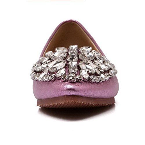 AalarDom Mujer Puntera en Punta Material Suave Sólido Sin cordones Plano con Diamante Rosa