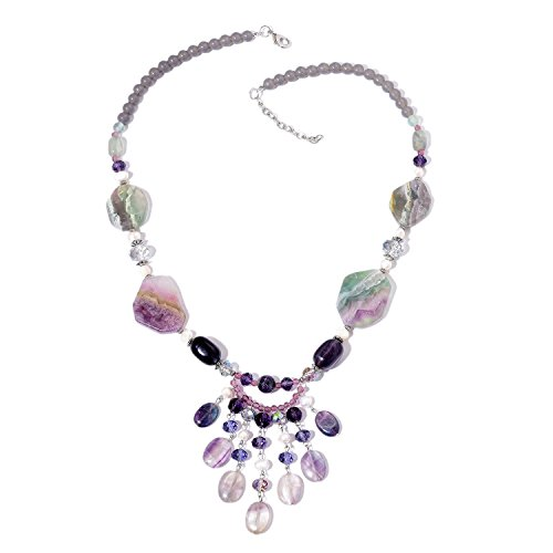 Shop LC Fluorite, Multi Gemstone Silvertone Fashion Pendant Necklace 27