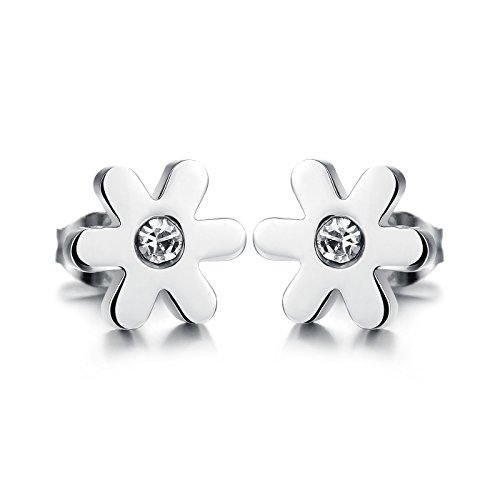 Aegean Jewelry Titanium Stainless Steel Ladys Charming Stud Earring with a Gift Box and a Free Small Gift
