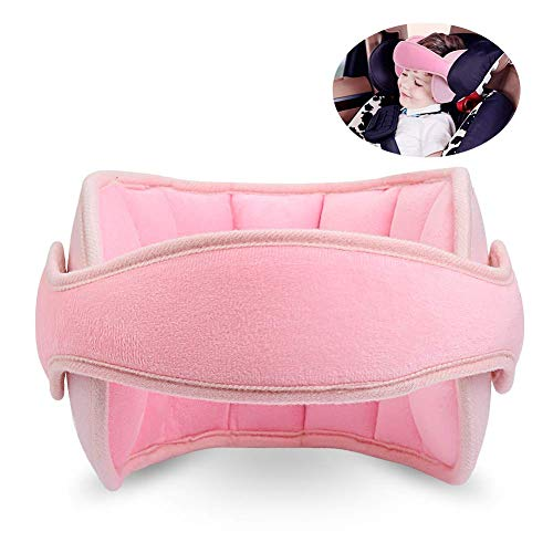 TekkPerry Baby Head Support for car seat, Carseat Head Band Strap Headrest, Stroller Car Seat Sleeping Head Support for Toddler Child Children Kids Infant (Pink)