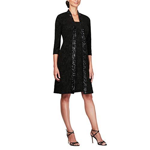 - Alex Evenings Women's Midi Length Jacket with Scoop Neck Sleeveless Dress, Black, 12