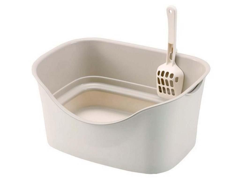 White Cat Litter Box,Kitten Toilet Filter ,cat Toilet cat Litter Shovel, High-Edge Dish Toilet,cat Litter Clumping  ,Odor Control (color   White)