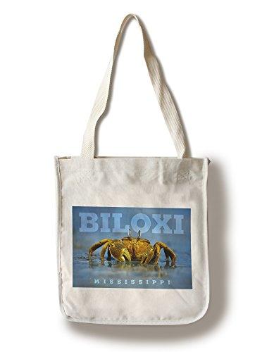 Biloxi, Mississippi - Crab on Beach (100% Cotton Tote Bag - - Mississippi Biloxi Shopping