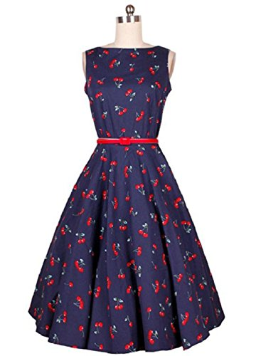 OUCHI Sleeveless Vintage Cherry Print Audrey Hepburn Outfit Swing Dress Navy S
