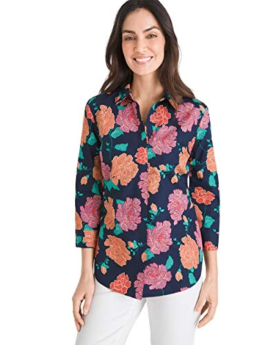 Chico's Women's No-Iron Cotton Textural Fleur Stain Shield Shirt Size 16/18 XL (3) Red