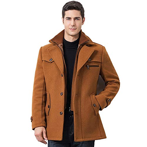 iHPH7 Mens Winter Thickened Warm Woolen Coat Solid Color Business Casual Trench Coat ()