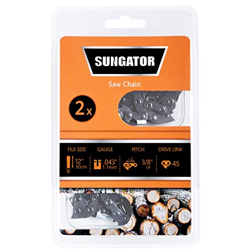 SUNGATOR 2-Pack 12 Inch Chainsaw Chain SG-R45, 3/8