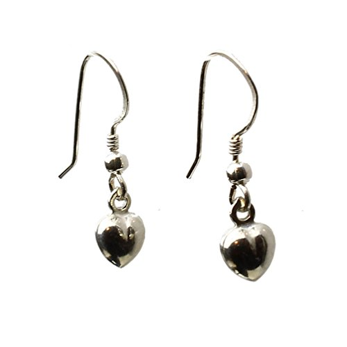 Sterling Silver Tiny Puffed Heart Charm Earrings