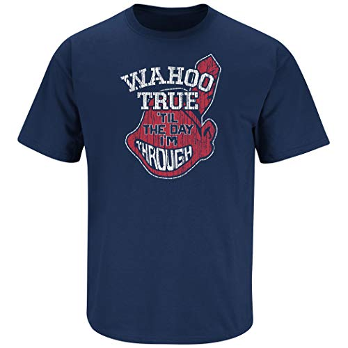 Cleveland Baseball Fans. Wahoo True. Navy T-Shirt (Sm-5X) (Short Sleeve, Large) (Cleveland Indians T-shirt)