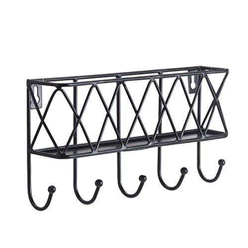 Letter Holder Organizer, Mail Sorter Storage Basket with Key Rack for Entryway, Kitchen - Wall Mounted, Metal, Black (basket key rack -