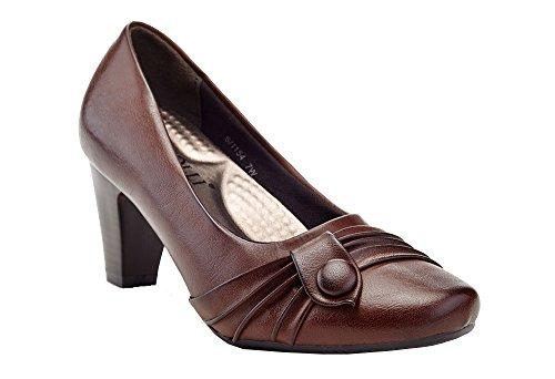 Rasolli Women's Round Toe Slip On Comfort Career Dress Pump Brown-1154
