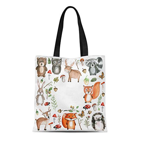 Semtomn Canvas Tote Bag Shoulder Bags Colorful Forest Cute Woodland Animals Watercolor Images Kindergarten Zoo Women's Handle Shoulder Tote Shopper Handbag