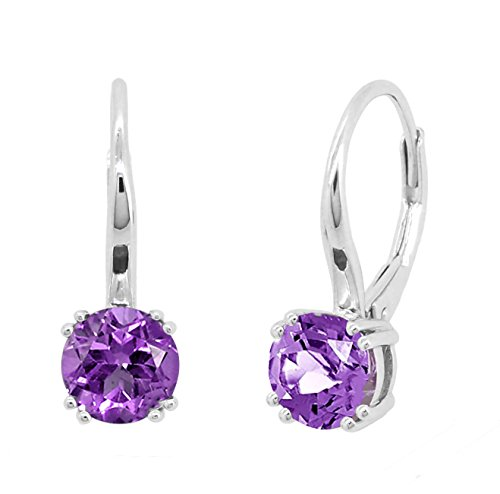 ine Natural Round Amethyst Peridot Garnet Blue Topaz Leverback Earrings (rhodium-plated-silver, amethyst) ()