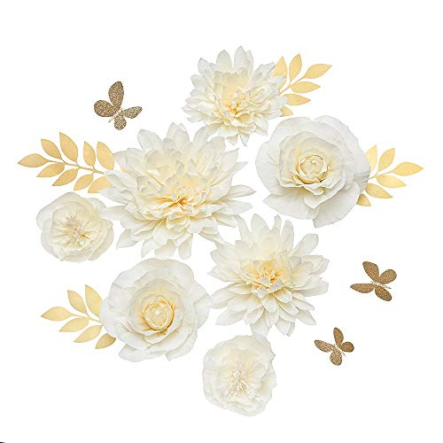 Ling's moment Paper Flower Decorations, Handcrafted 3D Giant Crepe Paper Flower Set of 7, Rose Dahlia Peony Assortment for Nursery Party Wedding Baby Shower Birthday Centerpiece(Cream Ombre)