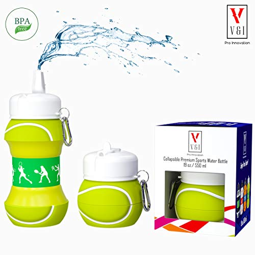 V V&I PRO INNOVATION Kids Sports Water Bottle Collapsible Basketball Baseball Tennis Soccer Ball Shaped Design Reusable 19 oz Drinking Cup Leak Proof Shockproof Squeezable Compact Travel Jug (Tennis)