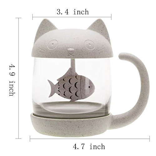 Cute-Cat-Infuser-Tea-Mug-with-Built-In-Fish-Shaped-Loose-Leaf-Infusion-Filter-Basket--85oz-Eco-Friendly-Novelty-Kitty-Steeper-Cup-Accessories-Gift-Set-for-Animal-Lovers