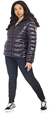 CHOCOLATE PICKLE New Womens Brave Soul Faux Down Everett Cire Quilted Hooded Padded Puffer Jackets Black 18
