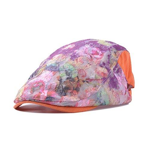 Deer Mum Lady Colorful Floral Lace Tartan Fashionable Beret Cap Hat (orange& purple)