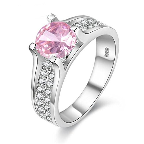 Platinum Pinky Rings (Uloveido Womens Pretty Pinky Solitaire Ring Round Cut Cubic-Zirconia Platinum Plating Bridal Wedding Promise Jewelry with Gift Box (Size 6 7 8 9) Y006-PINK-7)