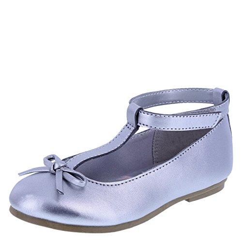 Frozen Girls' Silver Girls' T-Strap Ballet Flat 5 Regular (T-strap Ballet Shoes)