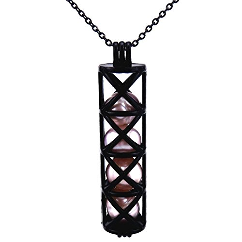 Black Long Cage Cross Locket Pendant Necklace Akoya Oysters 20