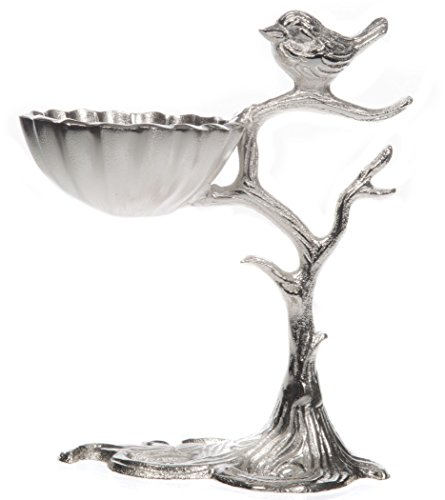 Silver Metal Decorative Bird Jewelry Tree with Nest – 10.75 inches