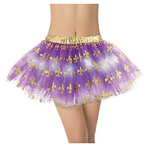 Mardi Gras Tutu (Mardi Gras Party Fleur de Lis Light-Up Tutu, One Size Fits Most)