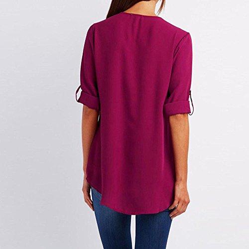 Chemisiers 3 Tunique de Casual Tops Blouse 4 Couture Rose Manche Col Soie vif V Chemise en Solike Zipp T Shirts Femme Moussline qnTHHZt
