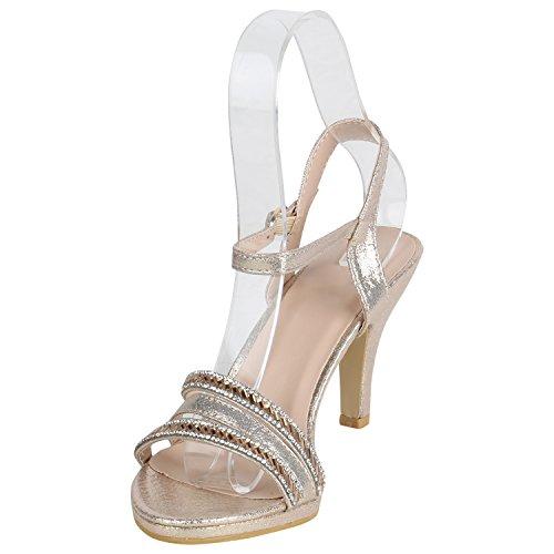 Stiefelparadies Damen Sandaletten Lack Stiletto High Heels Sandalen Glitzer Strass Party Schuhe Riemchensandaletten Metallic T-Strap Flandell Gold Agueda