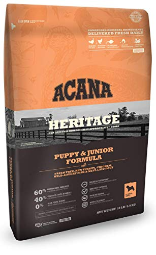 ACANA Heritage Puppy & Junior Dry Dog Food, 13 LB. Bag. Fresh Free-Run...