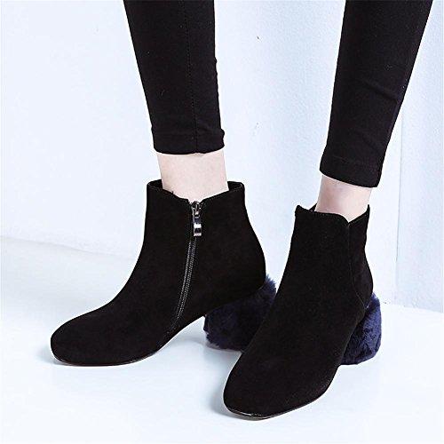 Nueva de Otoño Genuino 4 Medias cortas moda redonda Invierno Peluche Personalizados Zapatos áspero Cabeza EUR Mujeres UK 5 tacón Fregar Botas 3 Black Cuero 36 d6Aq8wda