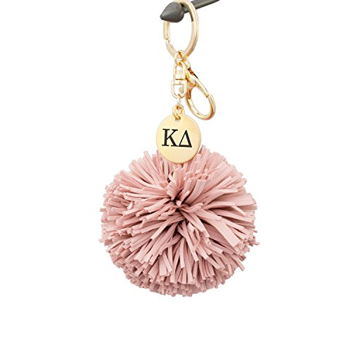 A-List Greek Kappa Delta Pom Tassel Keychain Sorority Key Chain with Laser Engraved Charm - Color Blush by A-List Greek Designs