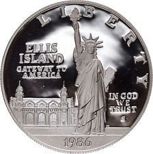(1986 S 1986 Statute of Liberty Ellis Island Silver Commemorative Dollar $1 Proof US Mint)