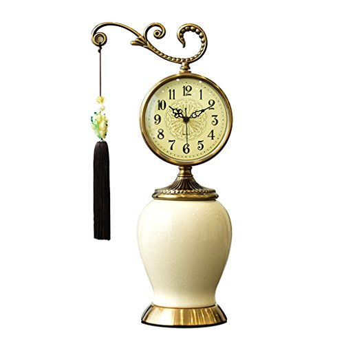 (LANNA SHOP- European classic Table clock creative Non-Ticking Silent ceramic desk clocks for living room (Color : Porcelain)